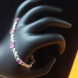 Sterling Silver Pink and White CZ bracelet